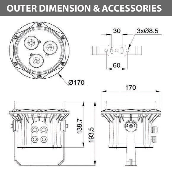 Outdoor LED Projector Lights - JRF3-3R - Diamension