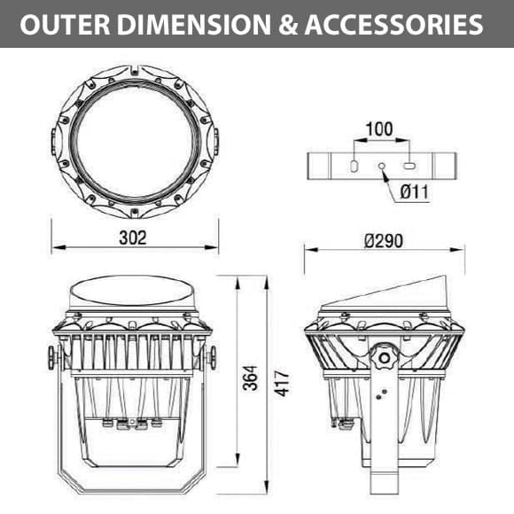 Outdoor LED Projector Lights - JRF3-54 - Diamension