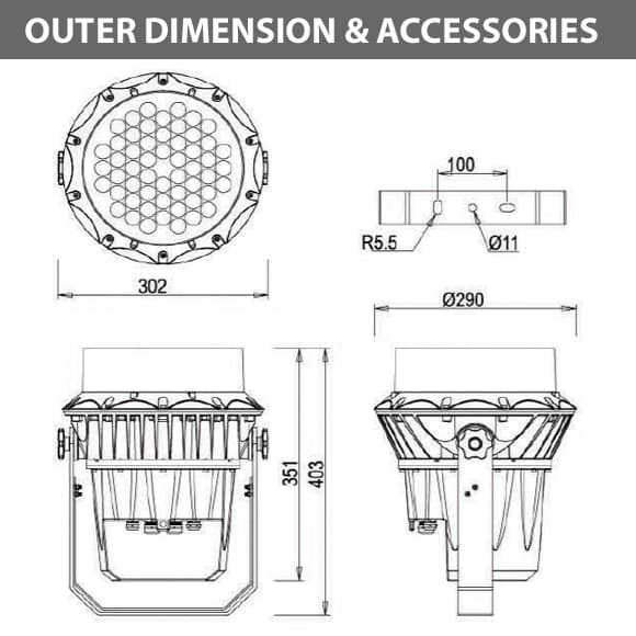 Outdoor LED Projector Lights - JRF3-54D - Diamension