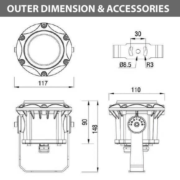Outdoor LED Projector Lights - JRF3-6 - Diamension