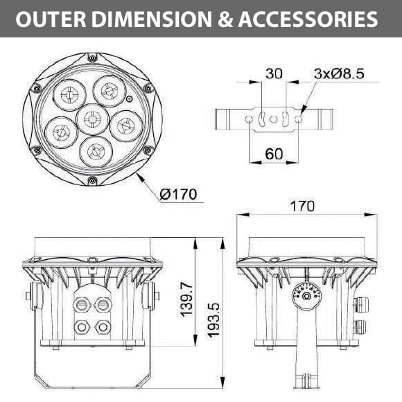 Outdoor LED Projector Lights - JRF3-6R - Diamension