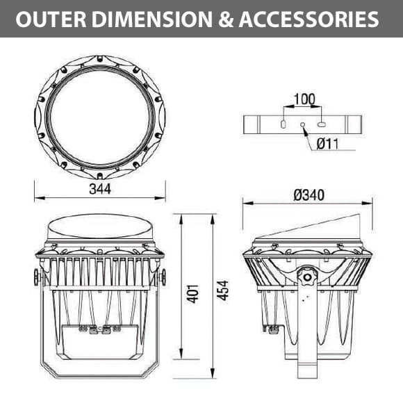 Outdoor LED Projector Lights - JRF3-72 - Diamension