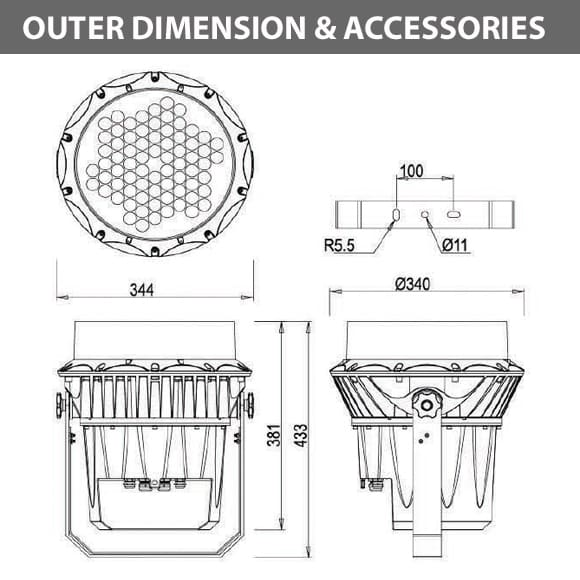 Outdoor LED Projector Lights - JRF3-72D - Diamension