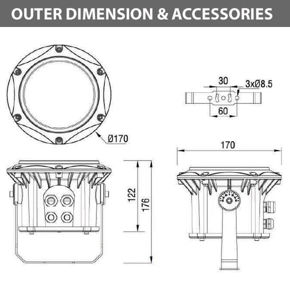 Outdoor LED Projector Lights - JRF3-9 - Diamension