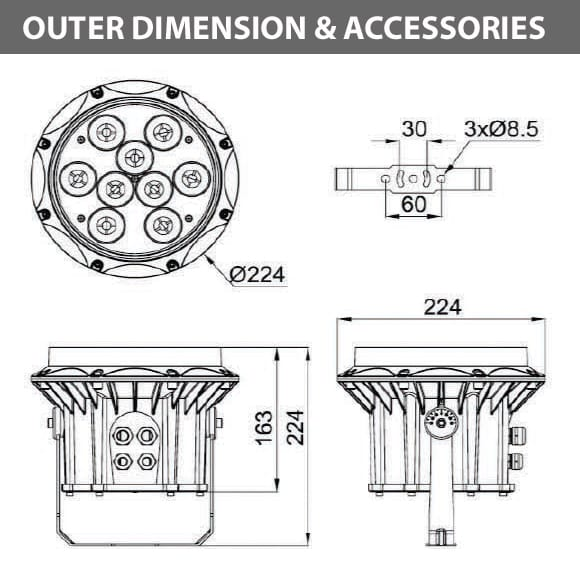 Outdoor LED Projector Lights - JRF3-9R - Diamension