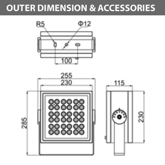 Outdoor LED Projector Lights - JRF4-L - Diamension
