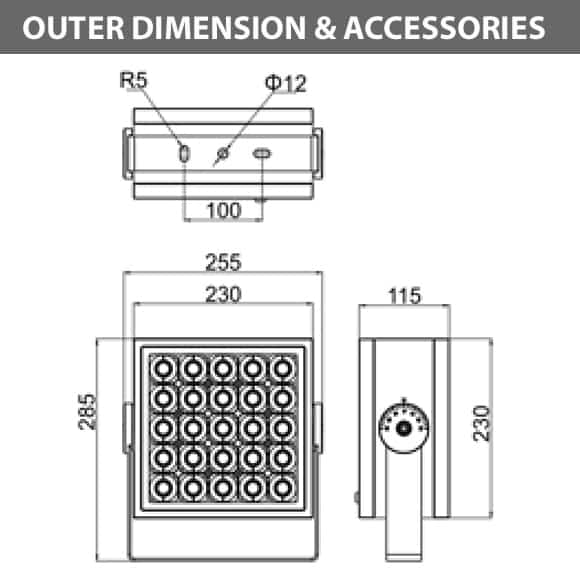 Outdoor LED Projector Lights - JRF4-L-G-Diamension