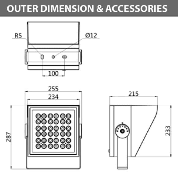Outdoor LED Projector Lights - JRF4-L-H -Diamension