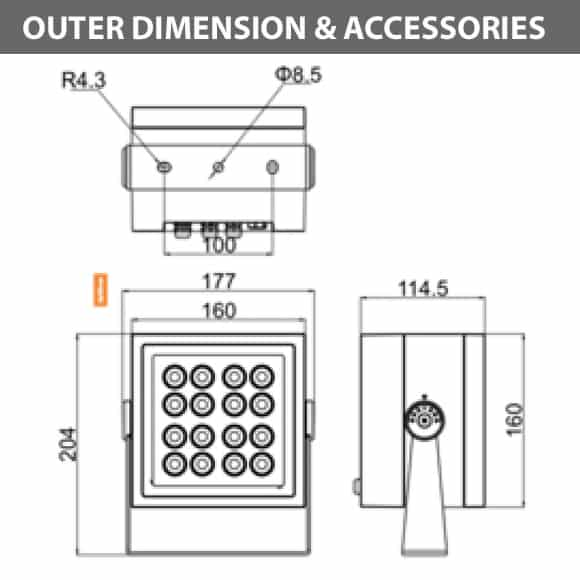 Outdoor LED Projector Lights - JRF4-M - Diamension