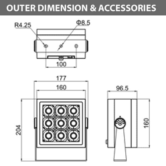 Outdoor LED Projector Lights - JRF4-M-G-Diamension