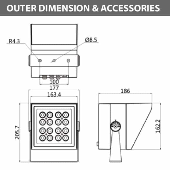 Outdoor LED Projector Lights - JRF4-M-H -Diamension