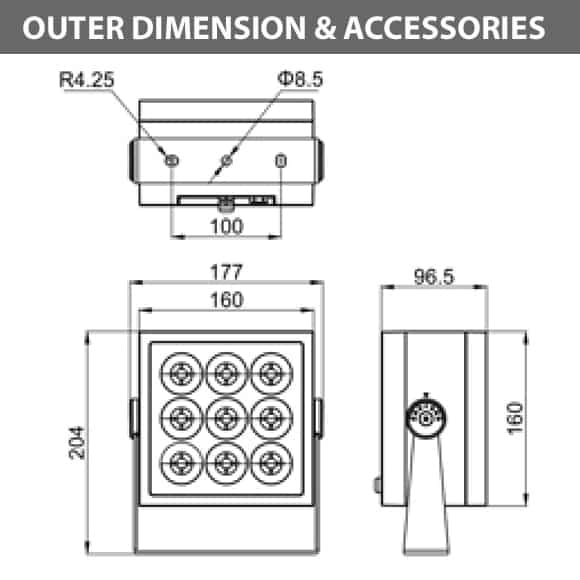 Outdoor LED Projector Lights - JRF4-M-R-Diamension