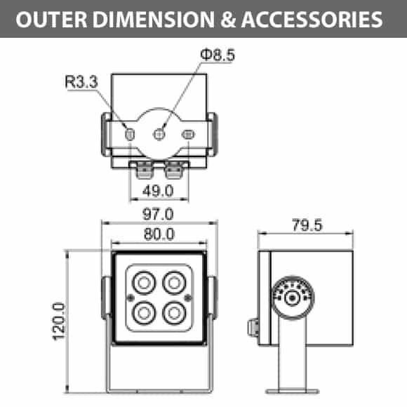 Outdoor LED Projector Lights - JRF4-S - Diamension