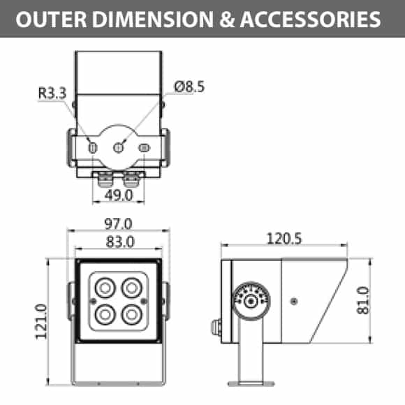Outdoor LED Projector Lights - JRF4-S-H -Diamension