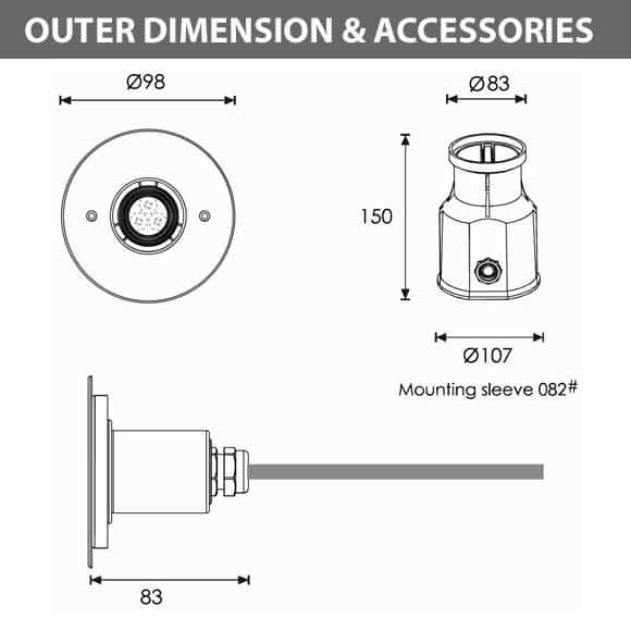 Recessed LED Swimming Pool Light - A4AA0357 - Diamension