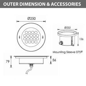 Recessed LED Swimming Pool Light - B4FB1857 - Diamension