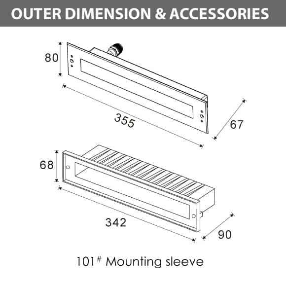 Recessed LED Swimming Pool Light - B4QA0658 Diamension