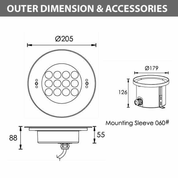Recessed LED Swimming Pool Light - B4ZB1257 - Diamension