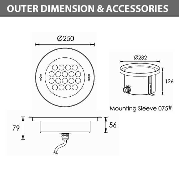 Recessed LED Swimming Pool Light - C4FB1857 - Diamension