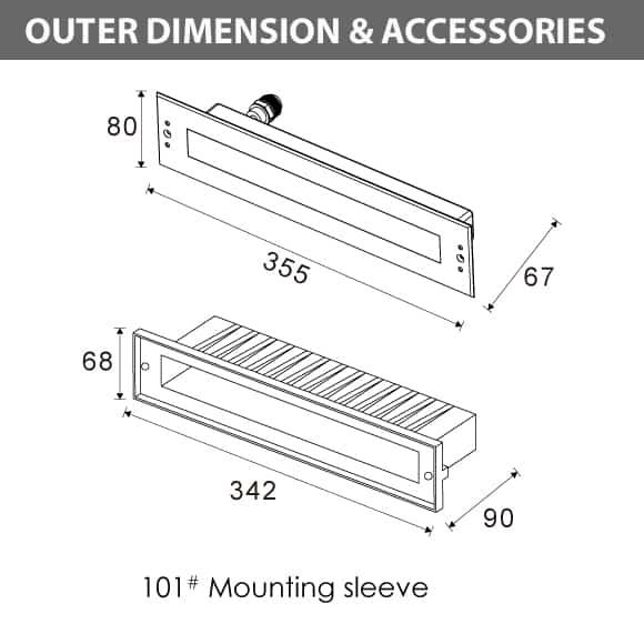 Recessed LED Swimming Pool Light - C4QA0658 Diamension