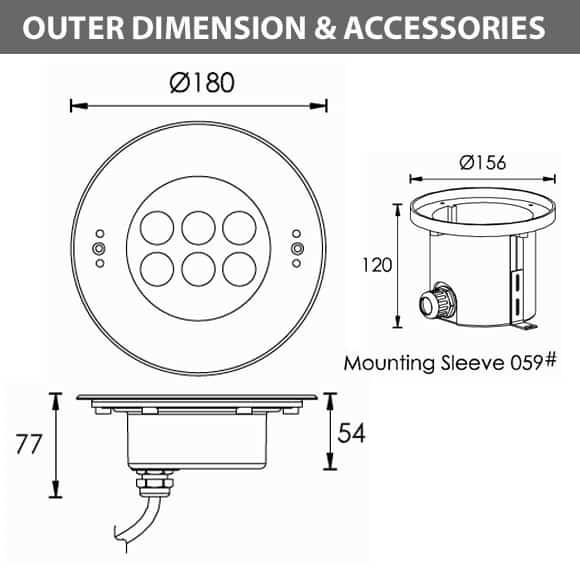 Recessed LED Swimming Pool Light - C4YB0657 - Diamension