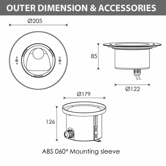 Recessed LED Swimming Pool Light - R4ZA0129 Diamension