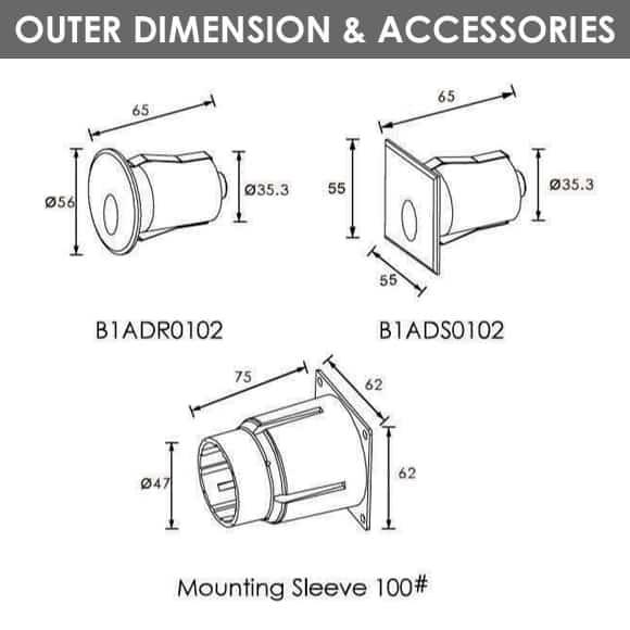 LED Wall Light - B1ADR0102 - B1ADS0102 - Dia