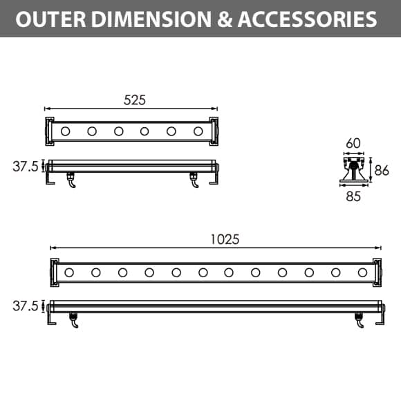LED Wall Washer A6FA0658-A6FA1258Diamension