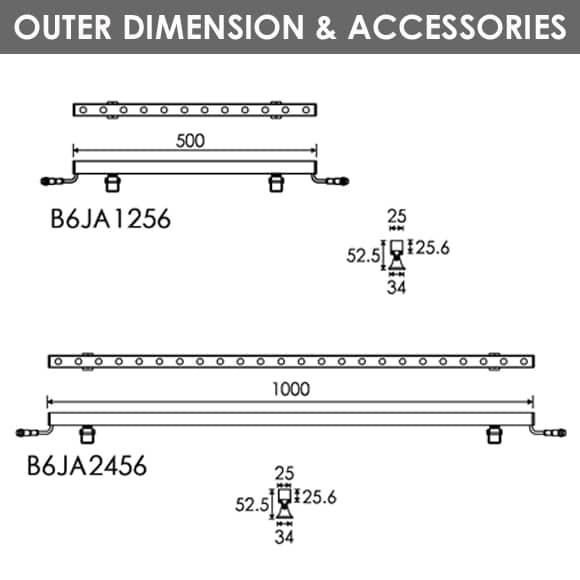 LED Wall Washer B6JA1256-B6JA2456 Diamension