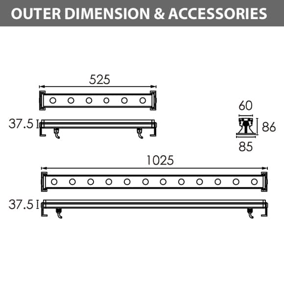 LED Wall Washer R6FB0624-R6FB1224Diamension
