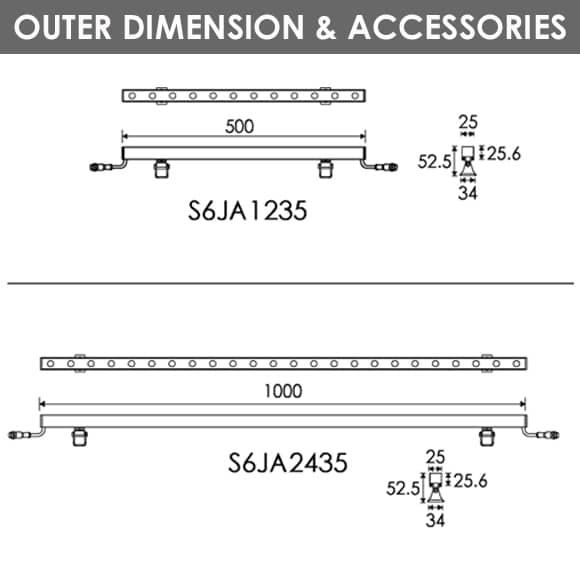 LED Wall Washer S6JA1235-S6JA2435 Dia