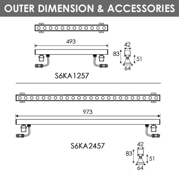 LED Wall Washer S6KA1257-S6KA2457Diamension