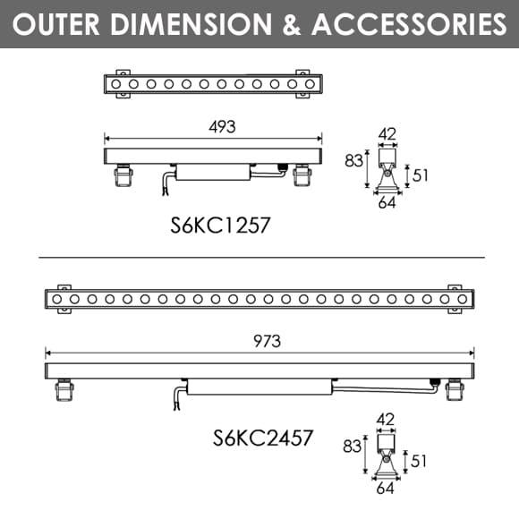 LED Wall Washer S6KC1257-S6KC2457 Diamension