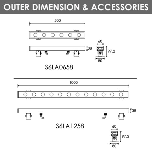 LED Wall Washer S6LA0658-S6LA1258 Dia
