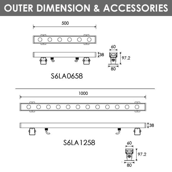 LED Wall Washer S6LA0658-S6LA1258 Dia