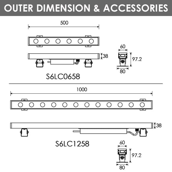 LED Wall Washer S6LC0658-S6LC1258 Dia
