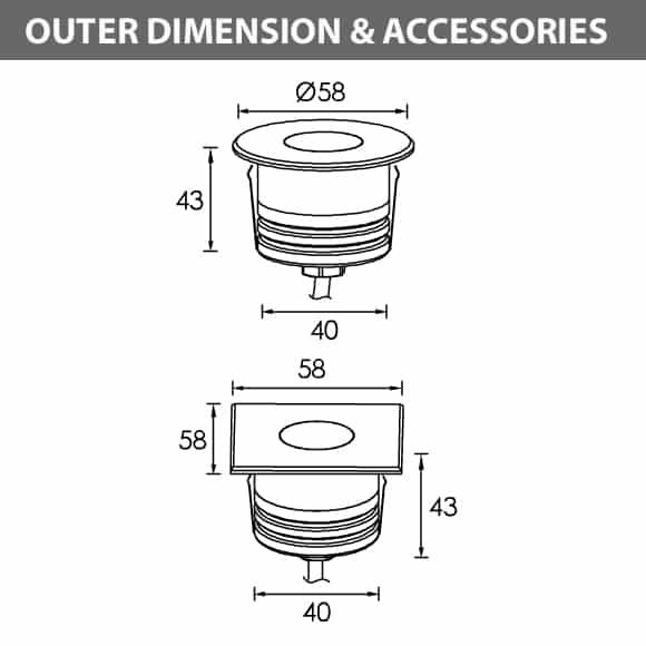 Recessed Wooden Floor Light - B2XAR0154-B2XAS0154 - Diamension