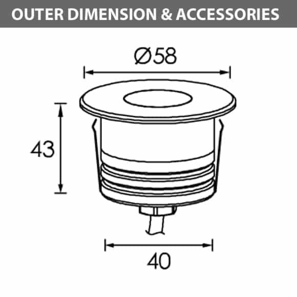 Recessed Wooden Floor Light - C2XAR0154 - Diamension