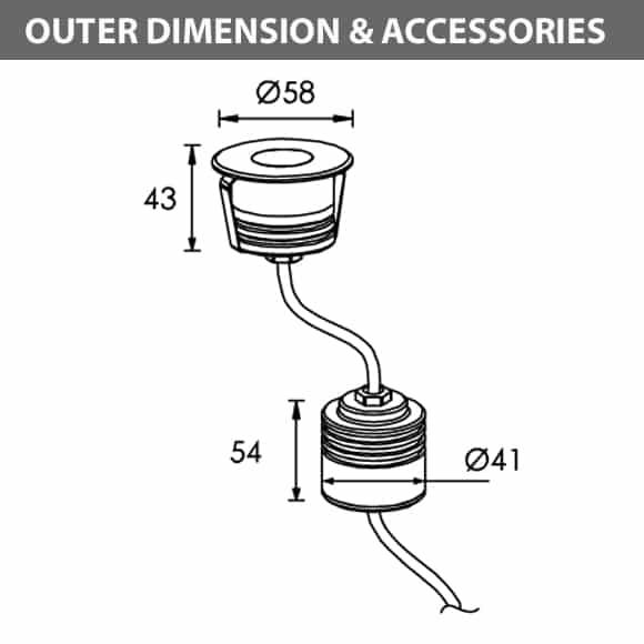 Recessed Wooden Floor Light - C2XAR0157 - Diamension