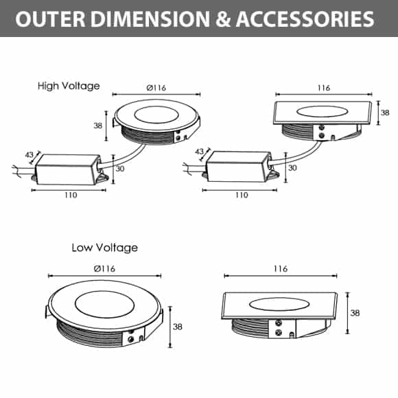 Recessed Wooden Floor Light - FB2XBR0357-FB2XBS0357 -Diamension