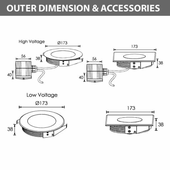 Recessed Wooden Floor Light - FB2XCR0657-FB2CS0657 - Diamension