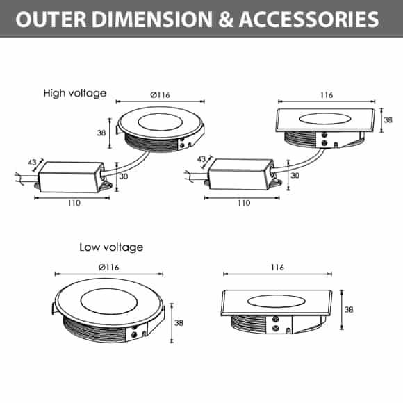 Recessed Wooden Floor Light - FC2XBR0357-FC2XBS0357 - Diamension