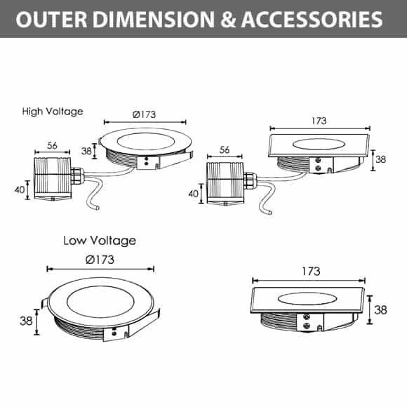 Recessed Wooden Floor Light - FC2XCR0657-FC2XCS0657 - Diamension