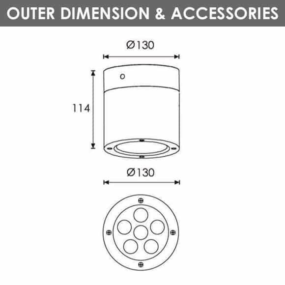 Outdoor Wall Light - R8CJ0127 - Diamension