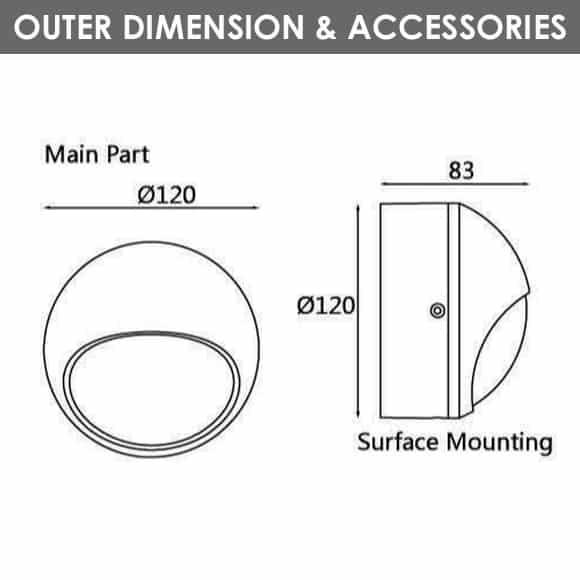 Outdoor Wall Lights - D1AK1833 - Diamension