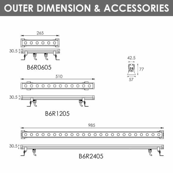 RGB Lights - B6R0605-B6R1205-B6R2405 - Diamension
