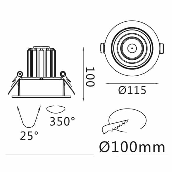 Recessed Grille Light - FS1062-13 - Dia