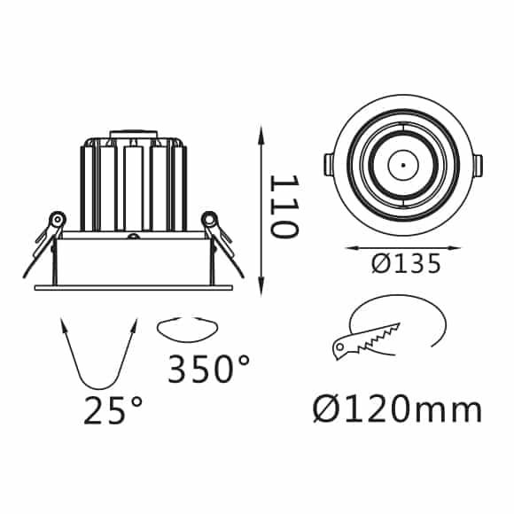 Recessed Grille Light - FS1062-20 - Dia