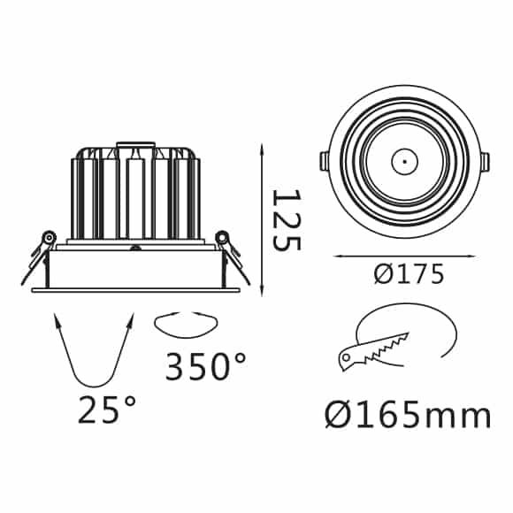 Recessed Grille Light - FS1062-30 - Dia