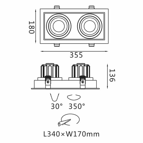 Recessed Grille Light - FS2018A-35 - Dia